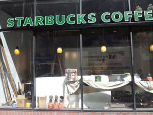 Mr. Coffee box in Starbucks window
