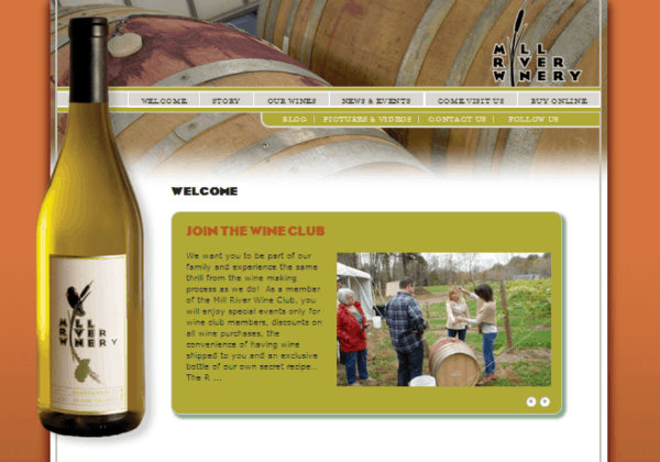 Mill River Winery home page