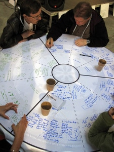 People seated at a table collaborating on a project