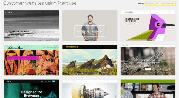 Examples of websites created using the same Squarespace template.