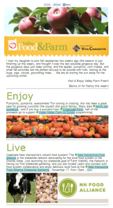 Sample newsletter from the Valley Farm Fresh campaign.