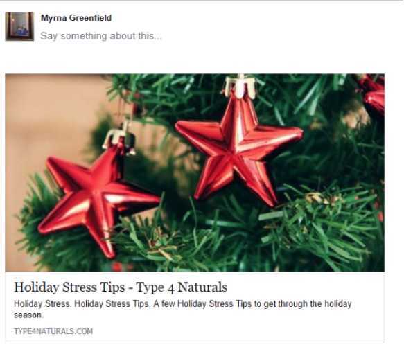 Facebook post example by Myrna Greenfield