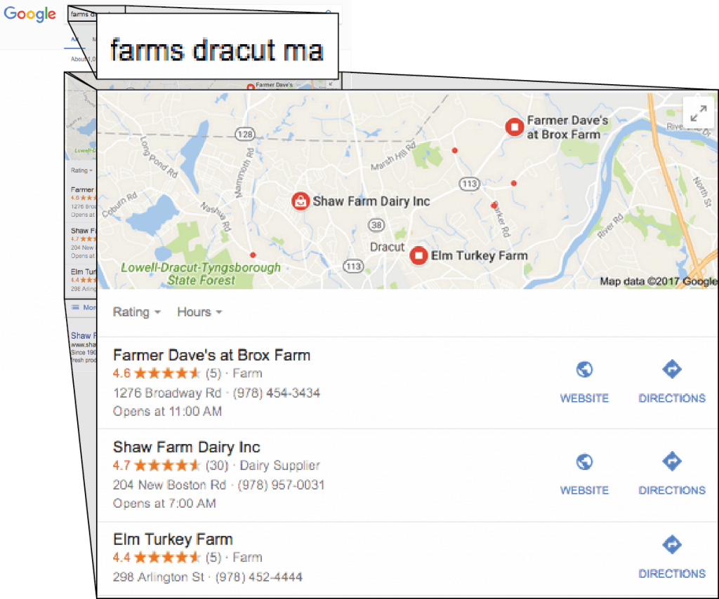 graphic showing google local search
