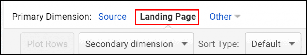 Screenshot of Google Analytics Landing Page as Primary Dimension