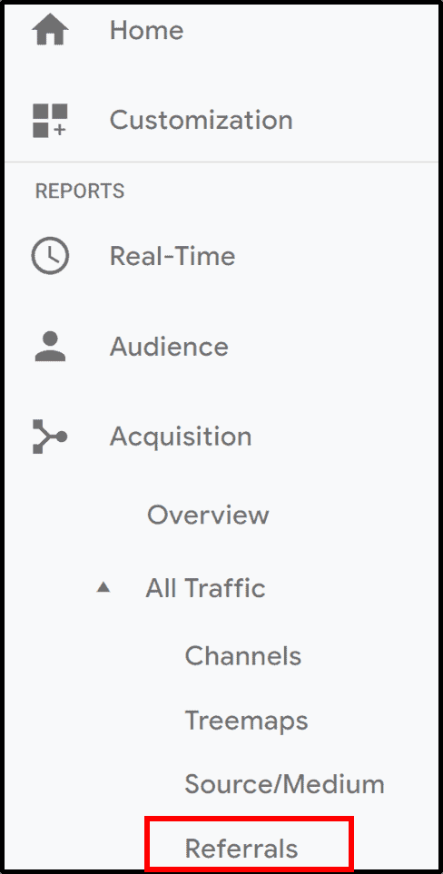 Google Analytics left navigation menu highlighting Referrals