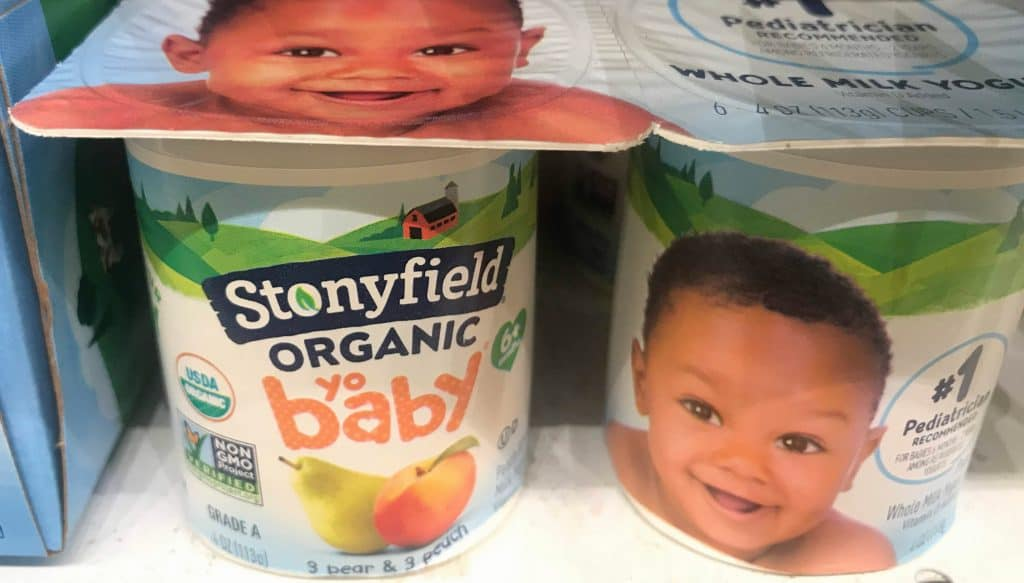 Stonyfield Yobaby container balances head and heart