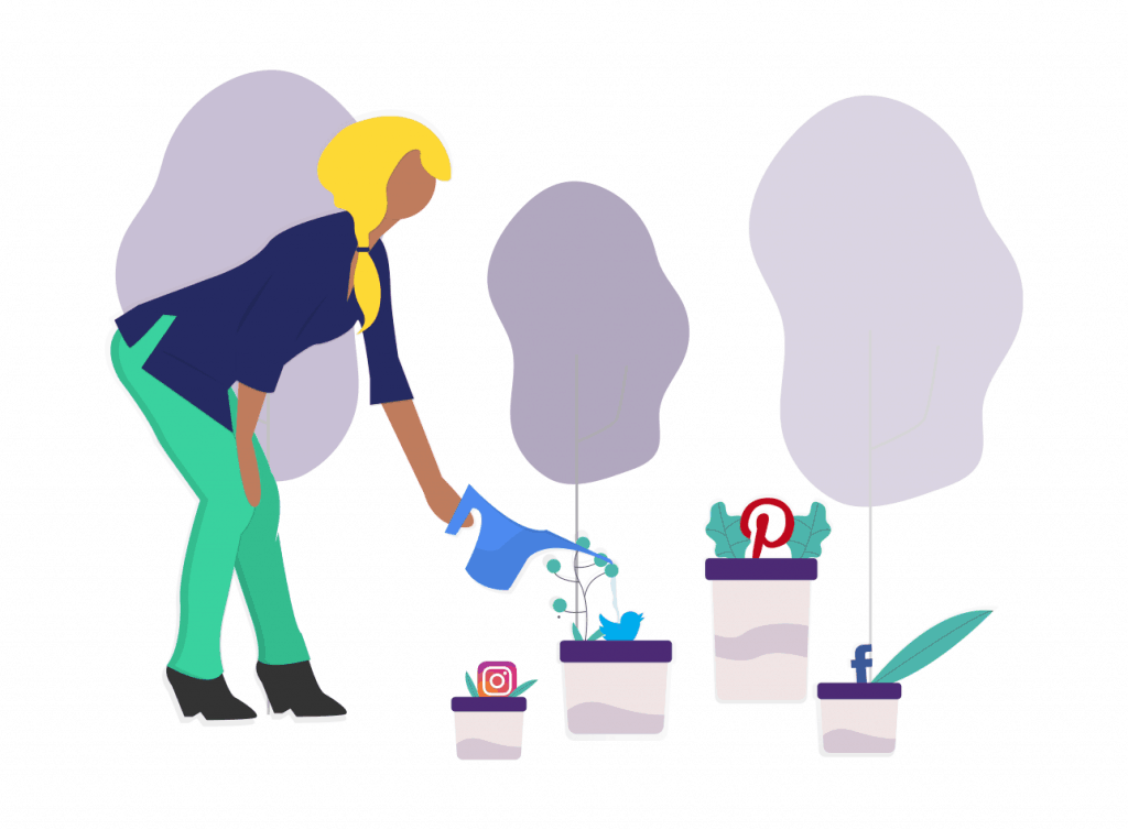 Illustration of woman watering social media channels in flower pots