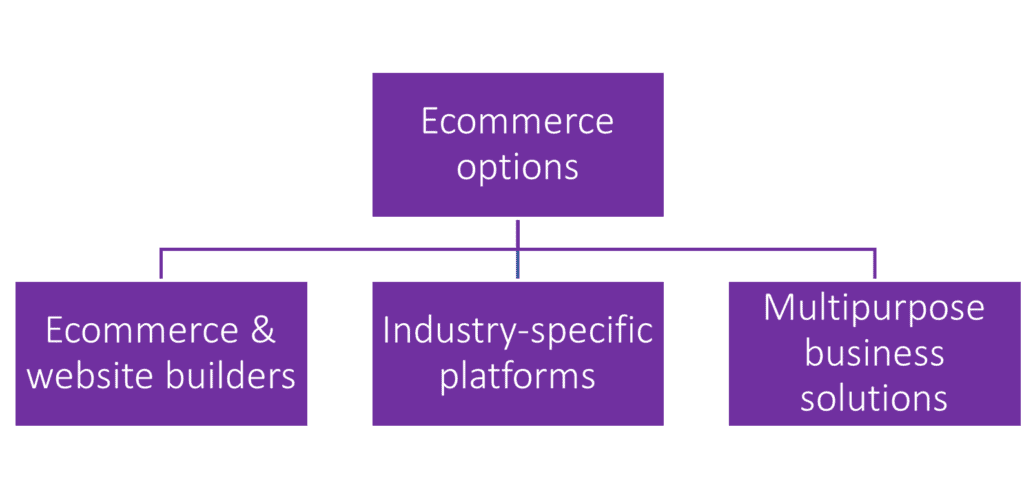 Chart depicting the three main ecommerce categories